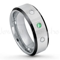0.21ctw Tsavorite & Diamond 3-Stone Tungsten Ring - January Birthstone Ring - 8mm Tungsten Wedding Band - Polished Black Ion Plated Beveled Edge Comfort Fit Tungsten Ring - Men's Anniversary Ring TN218-TVR