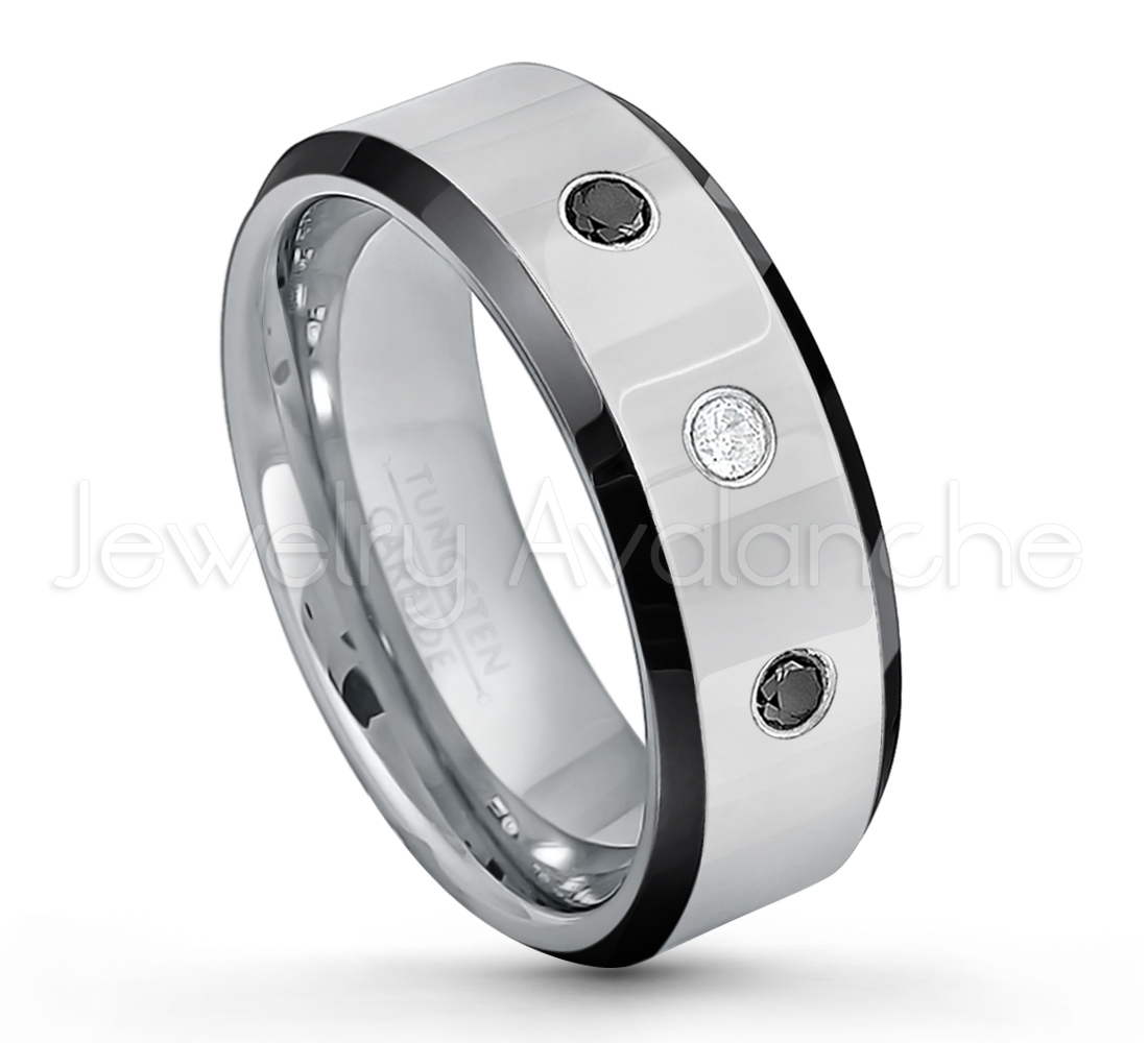 7ffeb2a694d49 0.21ctw White & Black Diamond 3-Stone Tungsten Ring - April Birthstone Ring  - 8mm Tungsten Wedding Band - Polished Black Ion Plated Beveled Edge ...