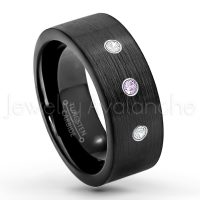 0.21ctw Amethyst & Diamond 3-Stone Tungsten Ring - February Birthstone Ring - 9mm Pipe Cut Tungsten Wedding Band - Brushed Finish Black IP Comfort Fit Tungsten Carbide Ring - Men's Tungsten Anniversary Band TN230-AMT