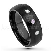 0.21ctw Amethyst & Diamond 3-Stone Tungsten Ring - February Birthstone Ring - 8mm Dome Tungsten Wedding Band - Brushed Finish Black IP Comfort Fit Tungsten Carbide Ring - Men's Tungsten Anniversary Band TN231-AMT