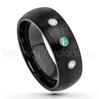 0.21ctw Tsavorite & Diamond 3-Stone Tungsten Ring - January Birthstone Ring - 8mm Dome Tungsten Wedding Band - Brushed Finish Black IP Comfort Fit Tungsten Carbide Ring - Men's Tungsten Anniversary Band TN231-TVR