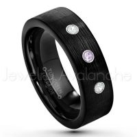 0.21ctw Amethyst & Diamond 3-Stone Tungsten Ring - February Birthstone Ring - 7mm Pipe Cut Tungsten Wedding Band - Brushed Finish Black IP Comfort Fit Tungsten Carbide Ring - Men's Tungsten Anniversary Band TN232-AMT