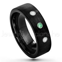 0.21ctw Tsavorite & Diamond 3-Stone Tungsten Ring - January Birthstone Ring - 7mm Pipe Cut Tungsten Wedding Band - Brushed Finish Black IP Comfort Fit Tungsten Carbide Ring - Men's Tungsten Anniversary Band TN232-TVR