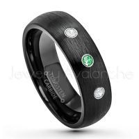 0.21ctw Tsavorite & Diamond 3-Stone Tungsten Ring - January Birthstone Ring - 6mm Dome Tungsten Wedding Band - Brushed Finish Black IP Comfort Fit Tungsten Carbide Ring - Tungsten Anniversary Band TN233-TVR