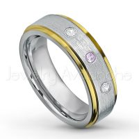 0.21ctw Amethyst & Diamond 3-Stone Tungsten Ring - February Birthstone Ring - 2-tone Tungsten Wedding Band - 6mm Brushed Finish Comfort Fit Yellow Gold Plated Stepped Edge Tungsten Carbide Ring TN330-AMT