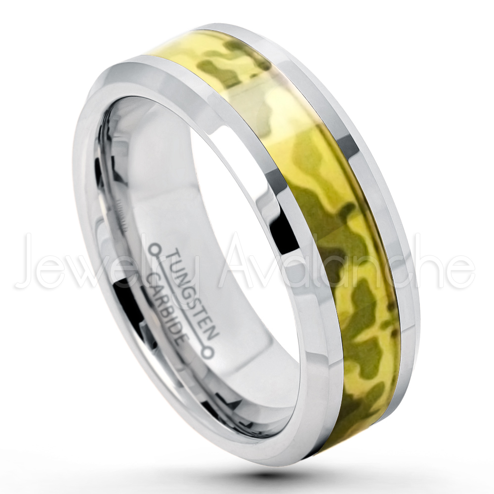 8mm Polished Comfort Fit Beveled Edge Tungsten Carbide Ring W Desert Storm Camouflage Inlay