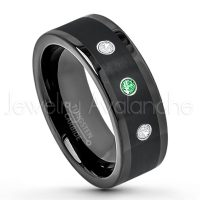 0.21ctw Tsavorite & Diamond 3-Stone Tungsten Ring - January Birthstone Ring - 8mm Pipe Cut Tungsten Wedding Band - Polished & Brushed Finish Black IP Comfort Fit Tungsten Carbide Ring - Anniversary Band TN374-TVR