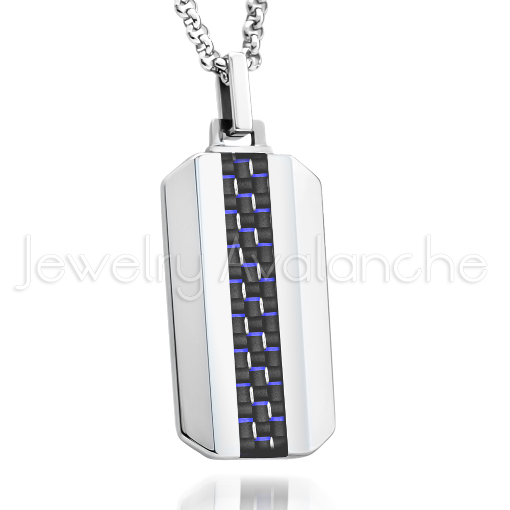 Dog tag tungsten carbide pendant with black blue carbon fiber dog tag tungsten carbide pendant with black blue carbon fiber inlay aloadofball Choice Image