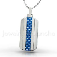 Dog Tag Tungsten Carbide Pendant with Blue Carbon Fiber Inlay