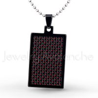Black IP Dog Tag Tungsten Carbide Pendant with Black & Red Carbon Fiber Inlay.