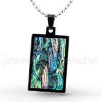 Black IP Dog Tag Tungsten Carbide Pendant with Abalone Inlay