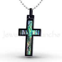 Black IP Cross Tungsten Carbide Pendant with Abalone Inlay.