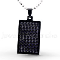 Black IP Dog Tag Tungsten Carbide Pendant with Black & Blue Carbon Fiber Inlay.