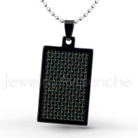 Black IP Dog Tag Tungsten Carbide Pendant with Black & Green Carbon Fiber Inlay.