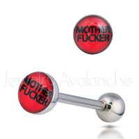 "14G Tongue Ring - Dirty / Nasty word ""MOTHER FUCKER"" Tongue Ring - 316L Surgical Steel Screw-on Tongue Rings TR2004"