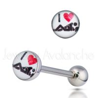 "14G Tongue Ring - Dirty / Nasty word ""I LOVE SEX"" Tongue Ring - 316L Surgical Steel Screw-on Tongue Rings TR2010"