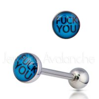 "14G Tongue Ring - Dirty / Nasty word ""FUCK YOU"" Tongue Ring - 316L Surgical Steel Screw-on Tongue Rings TR2021"