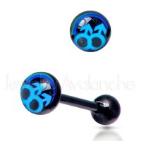 "14G Tongue Ring - Dirty / Nasty word ""MALE-MALE"" Tongue Ring - Anodized-Black 316L Surgical Steel Screw-on Tongue Rings TR2035"