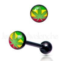 "14G Tongue Ring - Dirty / Nasty word ""MARIJUANA"" Tongue Ring - Anodized-Black 316L Surgical Steel Screw-on Tongue Rings TR2036"