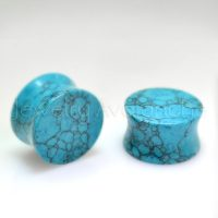 Turquoise Ear Plugs, Double Flare Glossy / Shiny Turquoise Blue Stone Ear Plugs ,December Birthstone Plugs - BDJ0067