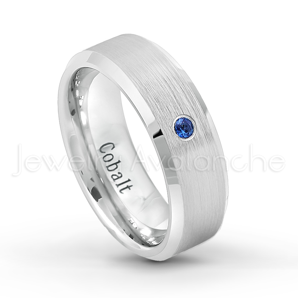 007ctw blue sapphire solitaire ring september for Mens wedding rings with birthstones
