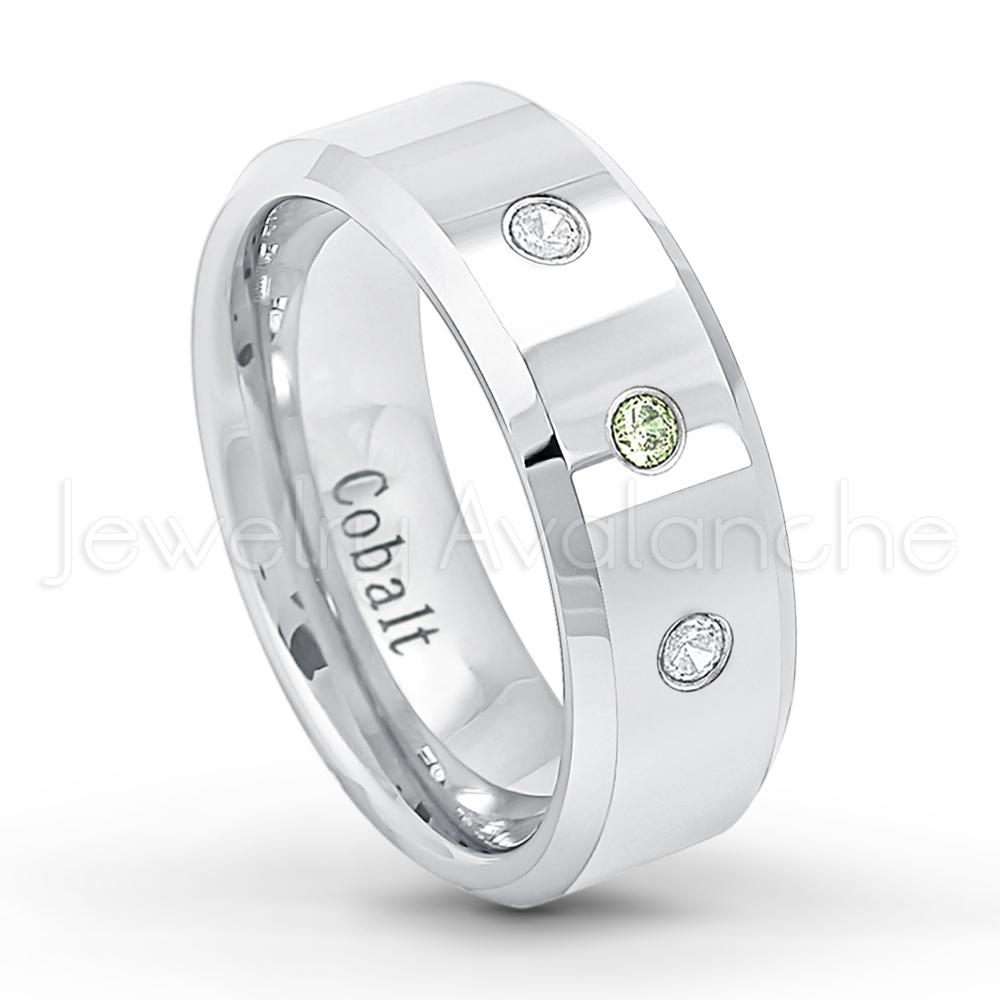 March Birthstone Ring 0.21ctw Aquamarine 3-Stone Cobalt Ring Jewelry Avalanche 8MM Comfort Fit Polished Beveled Edge Mens Cobalt Chrome Wedding Band