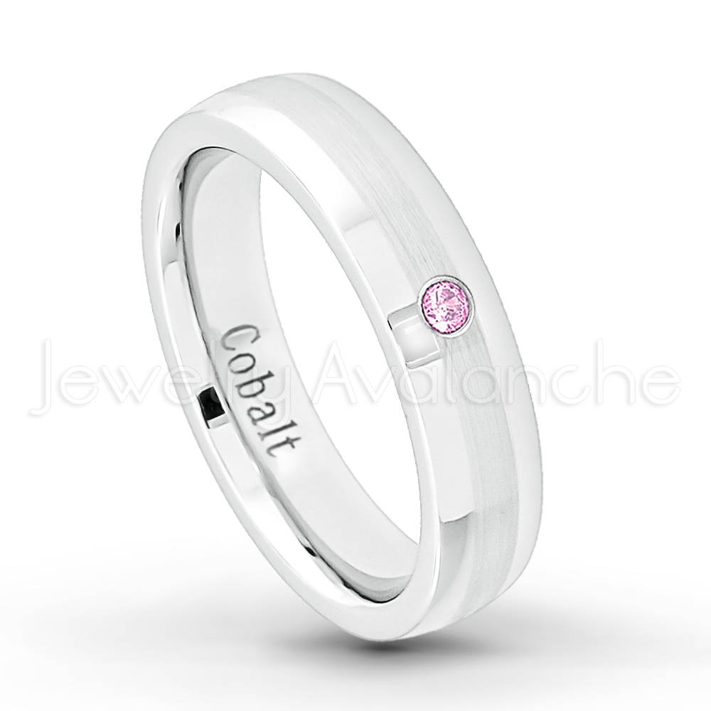 6MM Brushed Finish Comfort Fit Classic Dome White Wedding Band 9 October Birthstone Ring 0.07ct Pink Tourmaline Titanium Ring