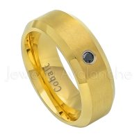 Brushed Finish Black IP Comfort Fit Beveled Edge Cobalt Wedding Band Anniversary Ring CT395 Mens Black Cobalt Ring 0.07ct Diamond Ring
