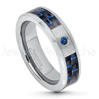 0.07ct Blue Sapphire Solitaire Ring, 6mm Matte Comfort Fit Tungsten Carbide Wedding Band w/ Carbon Fiber Inlay, Anniversary Ring TN200-1SP
