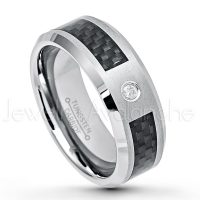 0.07ct Diamond Solitaire Ring, 8mm Matte Comfort Fit Tungsten Carbide Wedding Band w/ Black Carbon Fiber Inlay, Anniversary Ring TN224-1WD