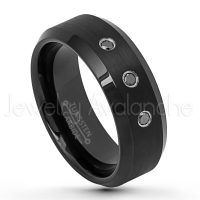 0.21ctw Black Diamond 3-Stone Ring, Brushed Black Ion Plated Comfort Fit Tungsten Carbide Wedding Band, Tungsten Anniversary Ring TN631-3BD
