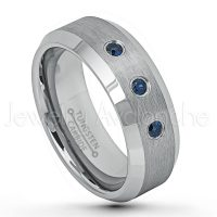0.21ctw Blue Sapphire 3-Stone Ring, Brushed Finish Comfort Fit Beveled Tungsten Carbide Wedding Band, Mens Tungsten Anniversary Ring TN635-3SP
