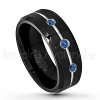 0.21ctw Blue Sapphire 3-Stone Ring, Brushed Black IP Comfort Fit Grooved Tungsten Carbide Wedding Band, Tungsten Anniversary Ring TN636-3SP