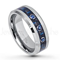 0.21ctw Blue Sapphire 3-Stone Ring, Polished Comfort Fit Tungsten Carbide Wedding Band w/ Carbon Fiber Inlay, Men's Anniversary Ring TN637-3SP