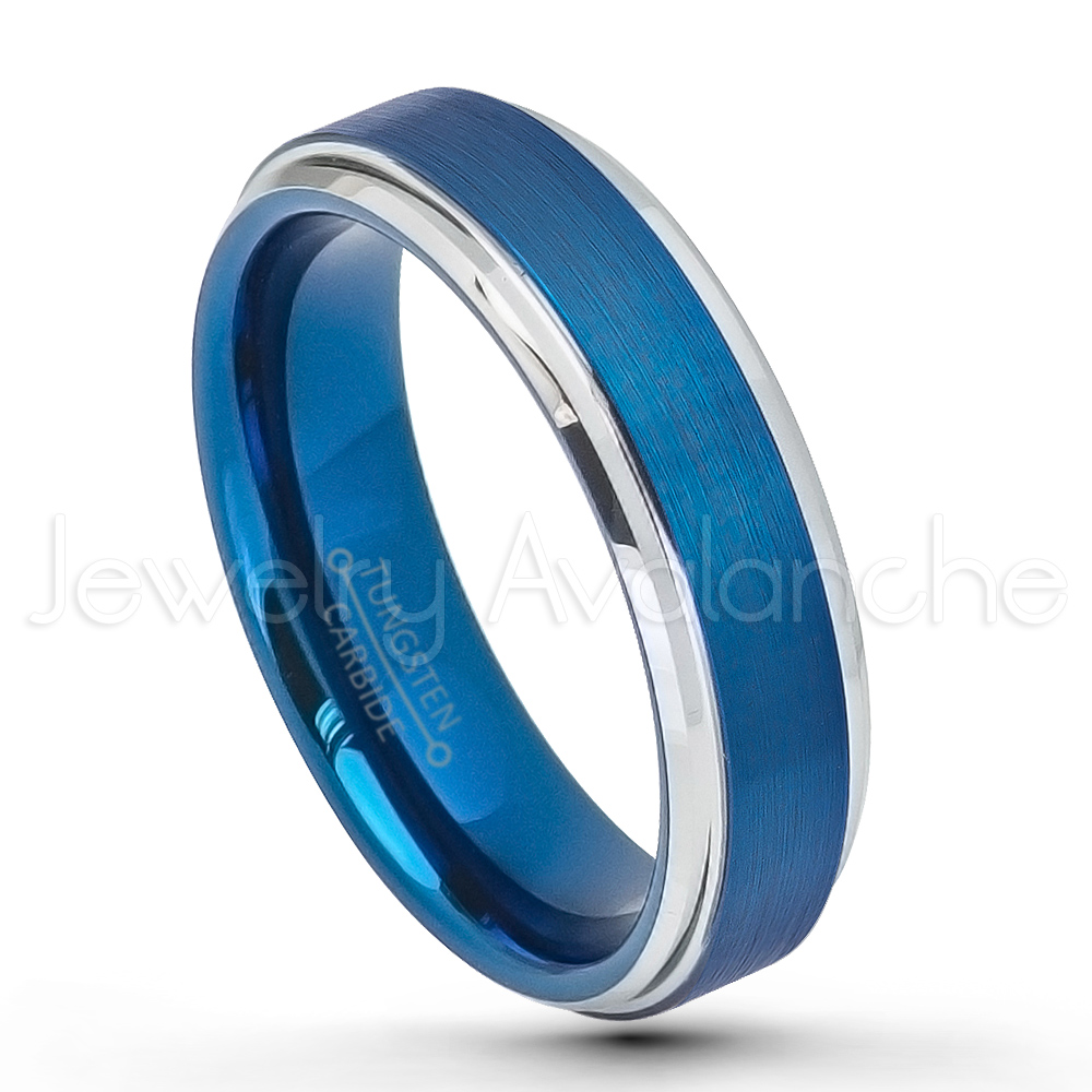 Reserved for MARK – 6mm Brushed 2-Tone Blue IP Tungsten Wedding Band ...