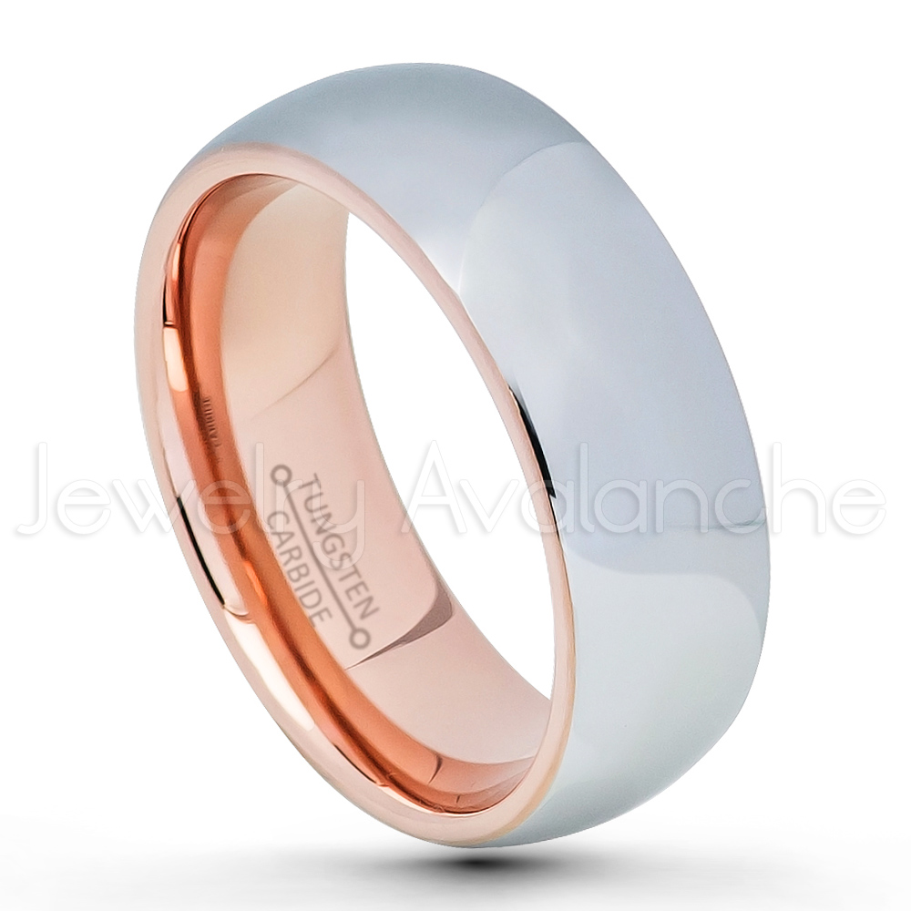 2 Tone Polished Dome Tungsten Wedding Band 8mm Rose Gold Plated Inner Comfort Fit
