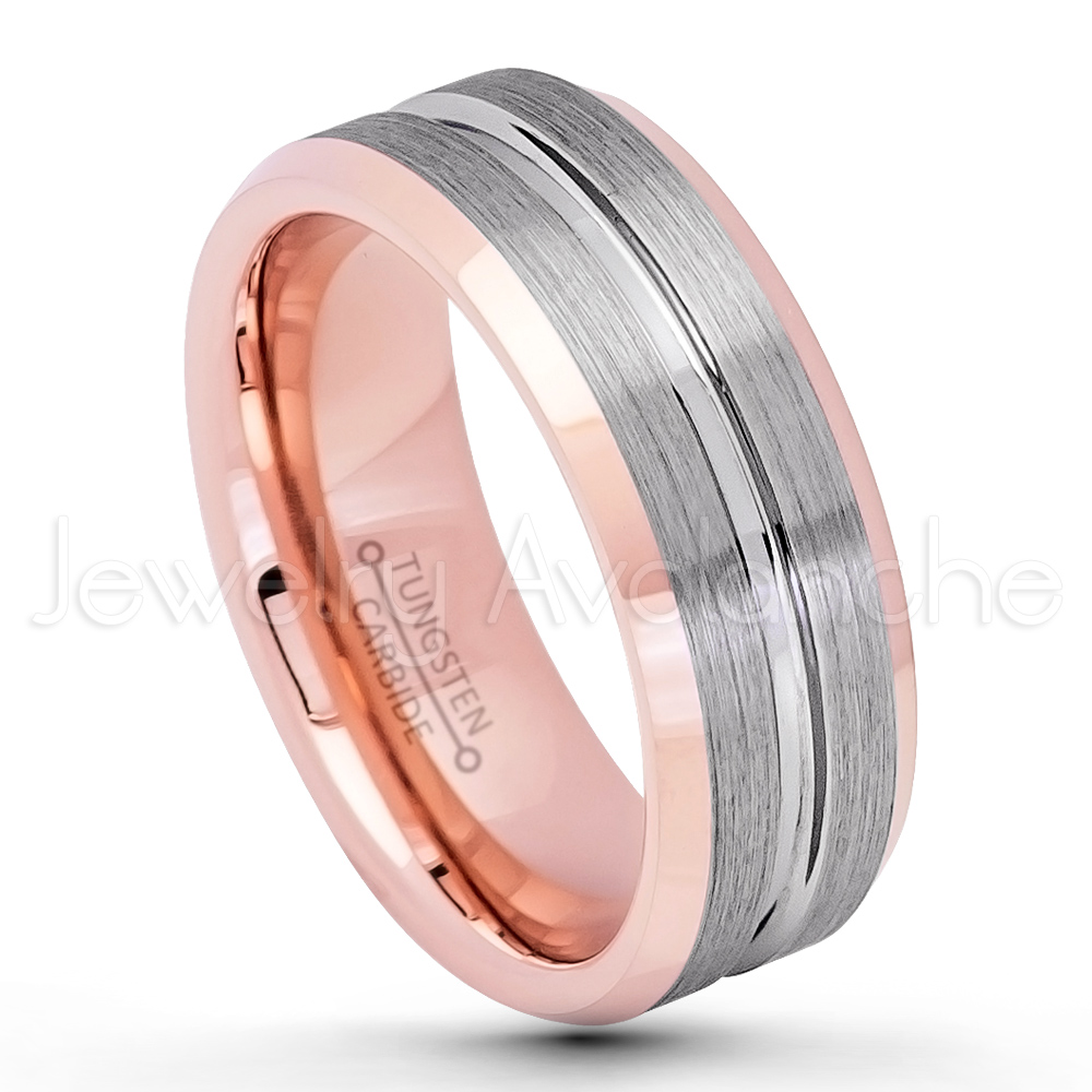 2-Tone Grooved Tungsten Wedding Band – 8mm Brushed Finish Rose Gold ...