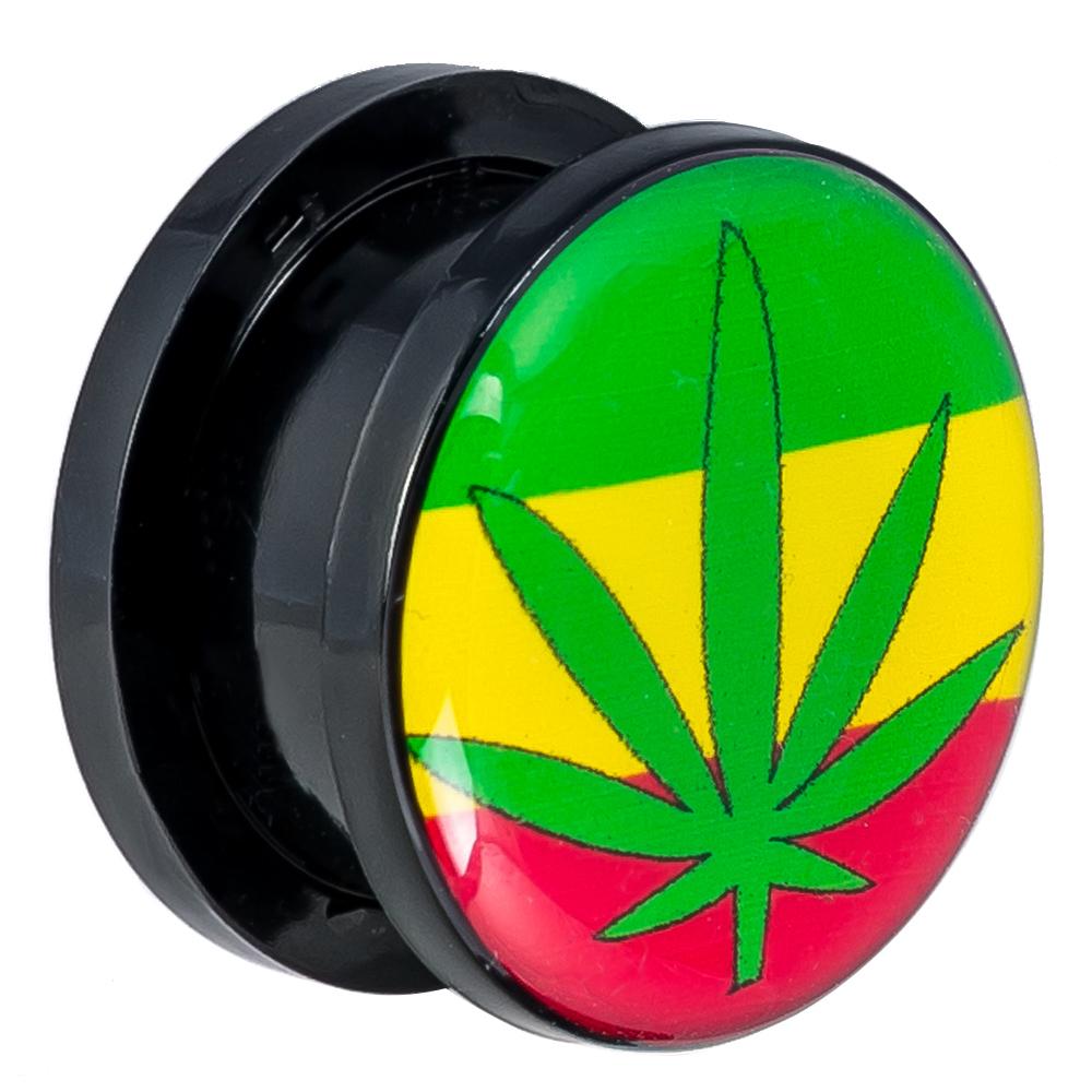 Black Acrylic Ear Plugs, Marijuana Leaf Design Top Design Screw on, UV Logo  Plugs, Body Jewelry, Ear Lobe Piercing Jewelry - Pair BDJ0200