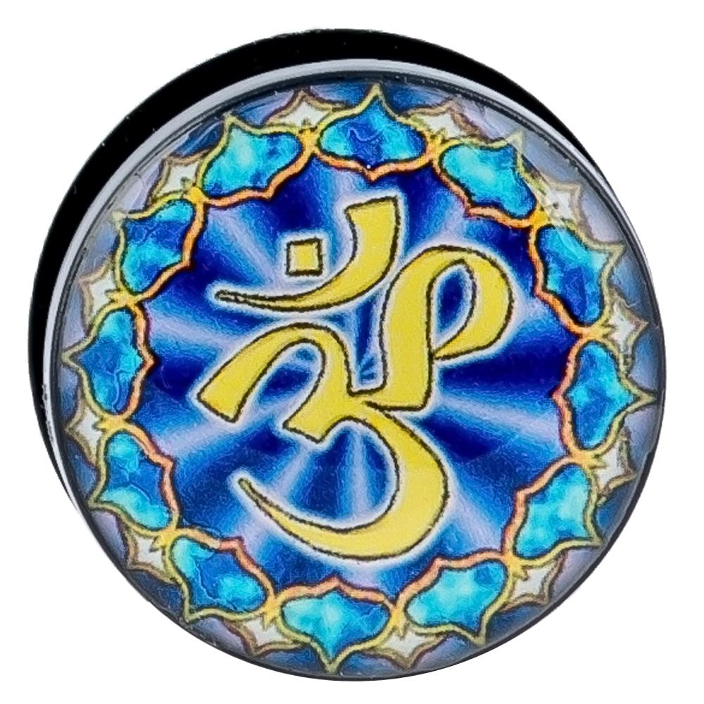 Black Acrylic Ear Plugs, Blue OHM Top Design Screw on, UV Logo Plugs, Body  Jewelry, Ear Lobe Piercing Jewelry - Pair BDJ0214
