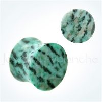 Double Flare Green Amazonite Stone Ear Tunnel Plugs, Camouflage Stone Plugs, Hypoallergenic Organic Plugs BDJ0283