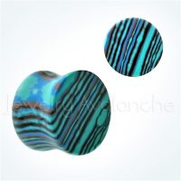 Double Flare Blue Calsilica Stone Ear Tunnel Plugs, Camouflage Stone Plugs, Hypoallergenic Organic Plugs BDJ0285