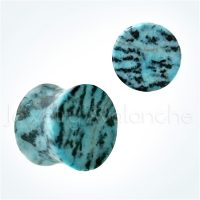 Double Flare Blue Amazonite Stone Ear Tunnel Plugs, Camouflage Stone Plugs, Hypoallergenic Organic Plugs BDJ0286