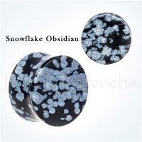 Double Flare Snowflake Obsidian Stone Ear Tunnel Plugs, Hypoallergenic Organic Plugs BDJ0289