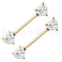 14G Nipple Ring with Prong Set Heart Shape Clear CZ, Screw-on Anodized Yellow 316L Surgical Steel Nipple Barbell, Sold as pair