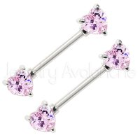 14G Nipple Ring with Prong Set Heart Shape Pink CZ, Screw-on 316L Surgical Steel Nipple Barbell, Sold as pair