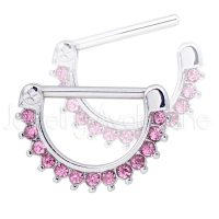 14G Nipple Ring Clicker with Prong Set Round Pink CZ, Screw-on 316L Surgical Steel Nipple Hoop, Sold as pair