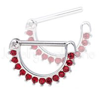 14G Nipple Ring Clicker with Prong Set Round Red CZ, Screw-on 316L Surgical Steel Nipple Hoop, Sold as pair