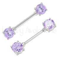 14G Nipple Ring with Prong Set Round Purple CZ, Screw-on 316L Surgical Steel Nipple Barbell, Sold as pair