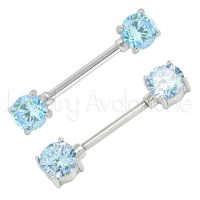 14G Nipple Ring with Prong Set Round Aquamarine CZ, Screw-on 316L Surgical Steel Nipple Barbell, Sold as pair