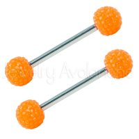 14G Nipple Barbell with Orange Shambala Accent, Screw-on 316L Surgical Steel Nipple Ring, Sold as pair